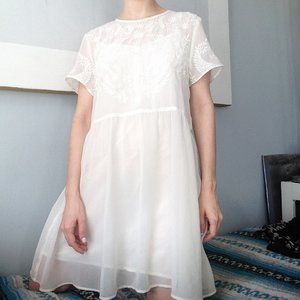 Free People white embroidered angel dress
